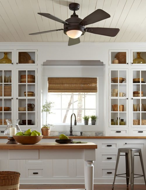 Traditional kitchen with wooden counter tops