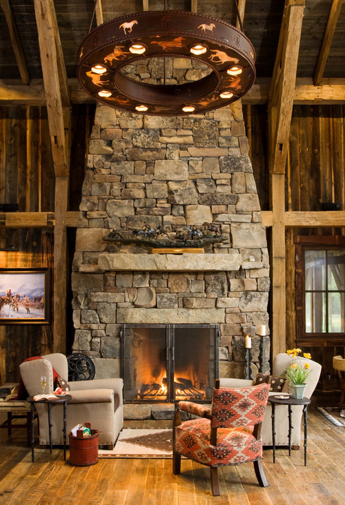 Rustic Living Room with Rough Hewn Wood Paneling