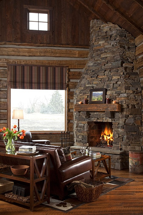 Rustic Fireplace in Cozy Cabin Retreat