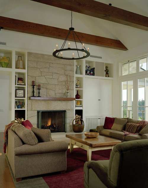 Contemporary Stone Fireplace in Traditional Living Room