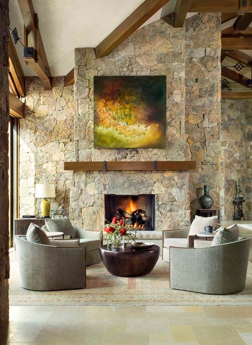 Stone Wall with Fireplace in Living Room