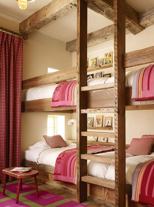 Bunk Beds in a Rustic Red Bedroom