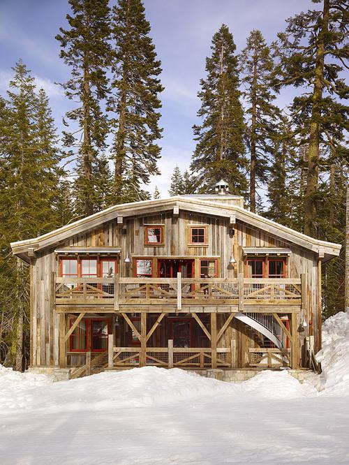 Rustic Ski Barn in the Snow
