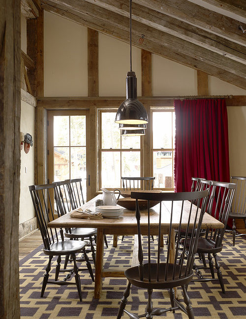 Rustic Ski Barn Dining Room with Windsor Chairs