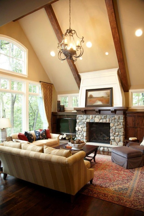 Country Style Living Room with Fireplace and Vaulted Ceiling