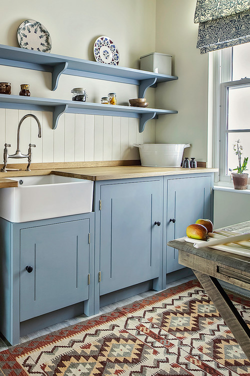 Country Kitchen with Light Blue Cabinets