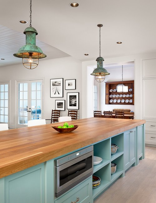 Light Blue Kitchen Island with Wood Counter Tops