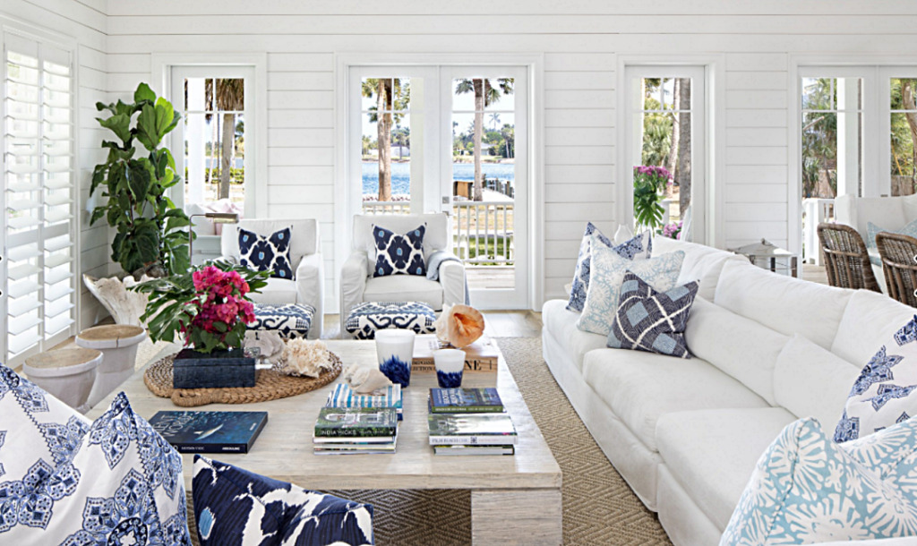 Blue and White Beach Style Cottage Living Room