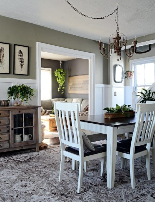 Country Home Dining Room in Neutral Tones