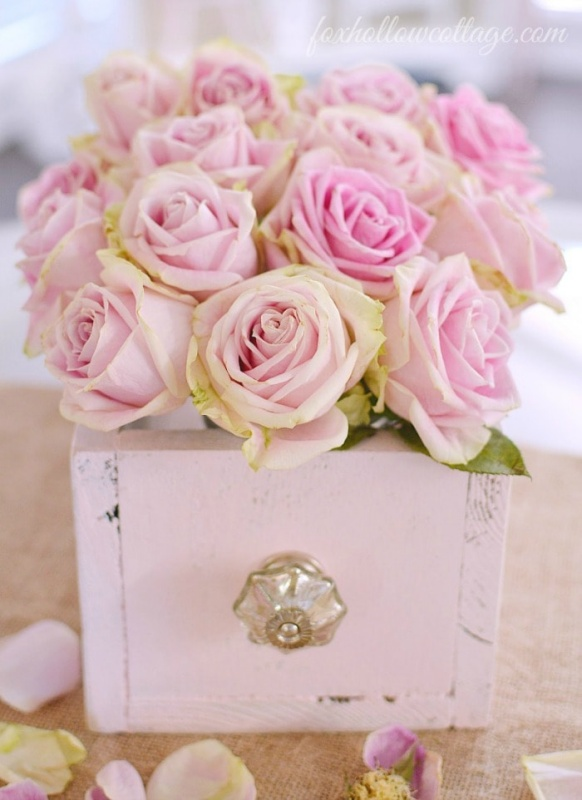 Wooden Box with Roses by Fox Hollow Cottage