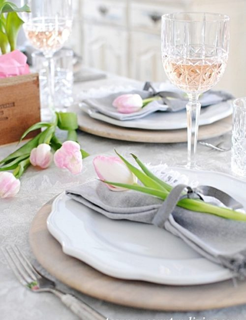 Pink and Gray Valentine's Day Table Setting
