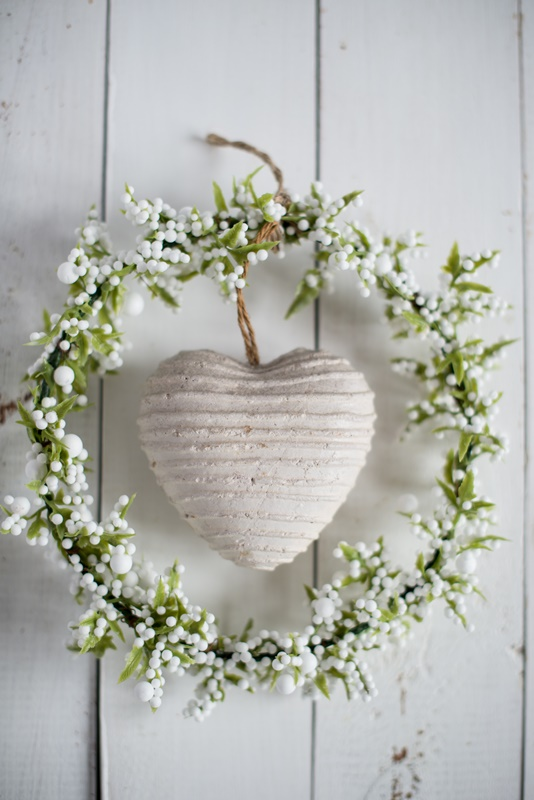 Simple White Spring Wreath with Heart