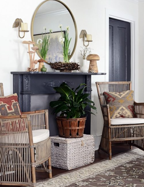 Nature Inspired Spring Mantel