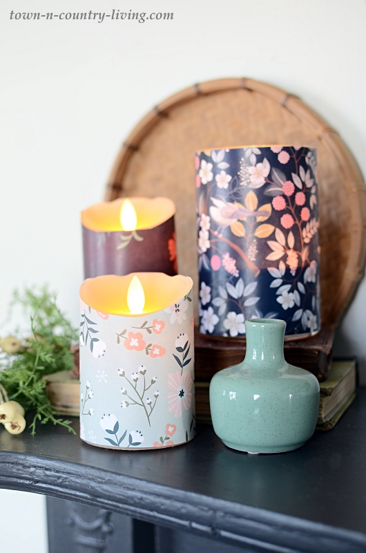 Candles Wrapped in Spring Papers