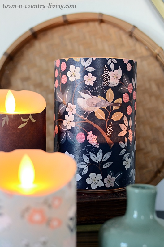 Wrap Old Candles in Pretty Spring Paper