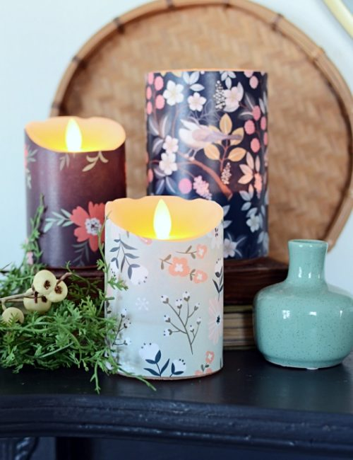 Spring Print Wrapped Candles