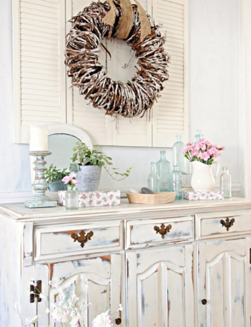Country Buffet with Spring Vignette