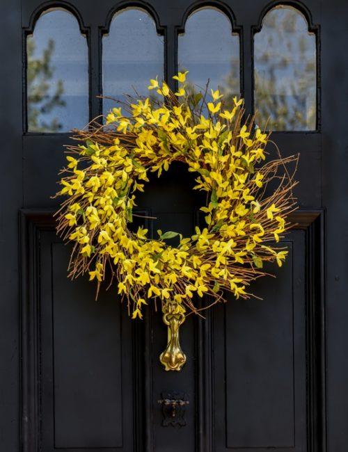 Yellow Forsythia Wreath on Dark Gray Door
