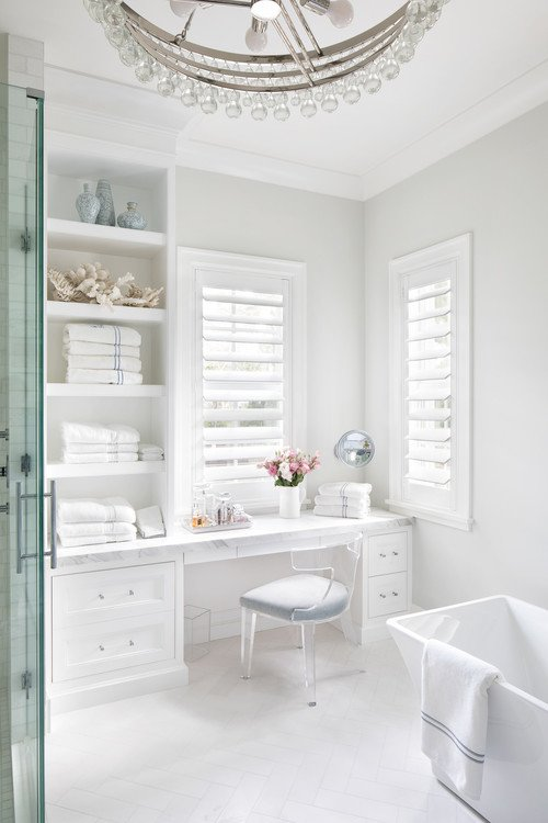 White Beach Style Bathroom with Free Standing Tub