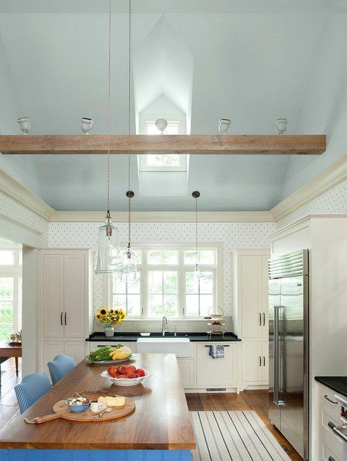 White Coastal Kitchen with Touches of Blue