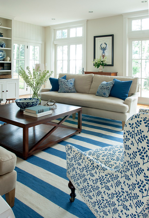 Coastal Style Living Room with Blue and White Stripes and Patterns