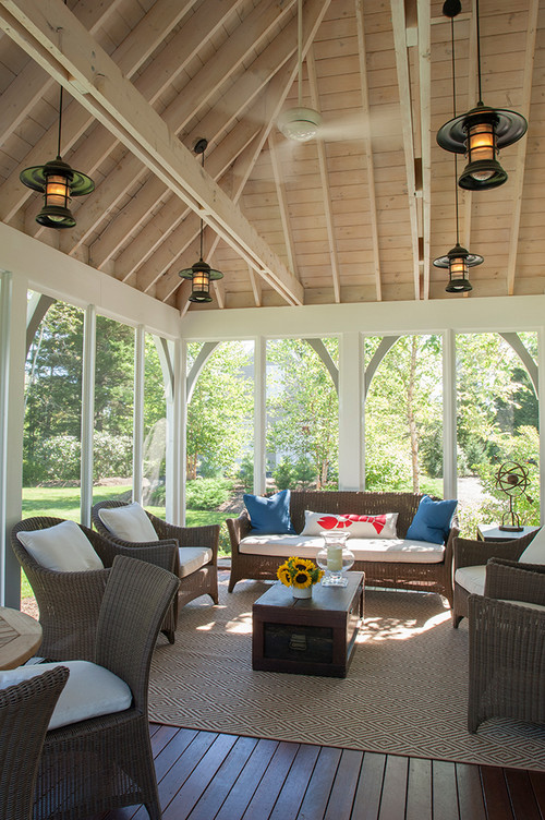 Vaulted Screened In Porch with Waterfront View of Peter's Cove