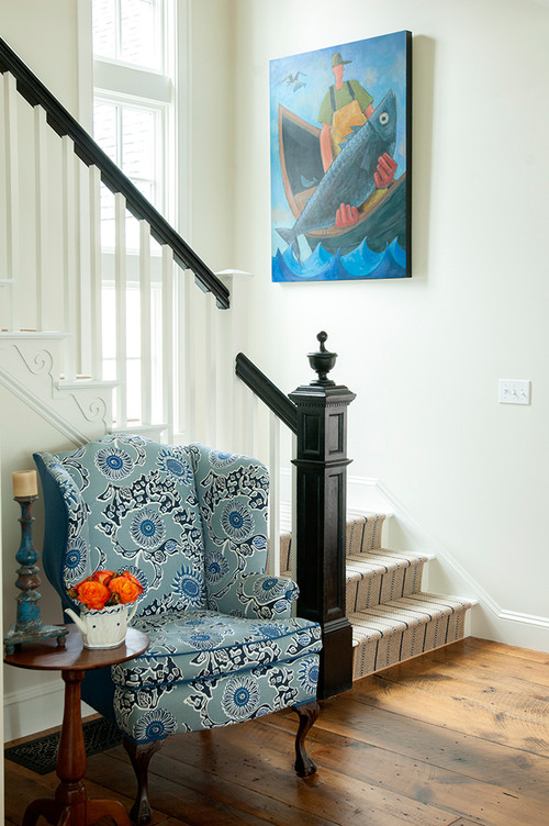 Victorian Style Staircase in Farmhouse Entryway