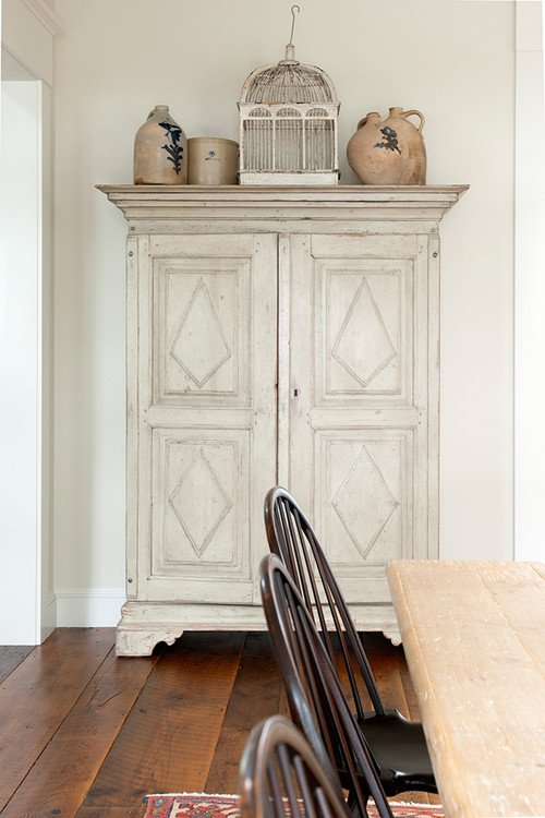Weathered White Armoire in Modern Maine Farmhouse