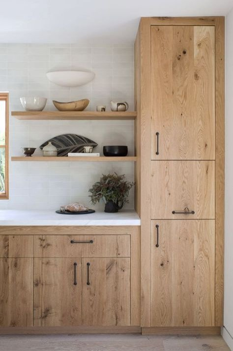 Scandinavian Style Kitchen with Open Shelves and Wood Cabinets