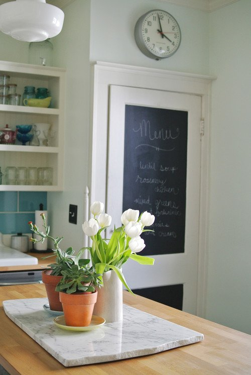 Kitchen Door with Chalkboard Paint