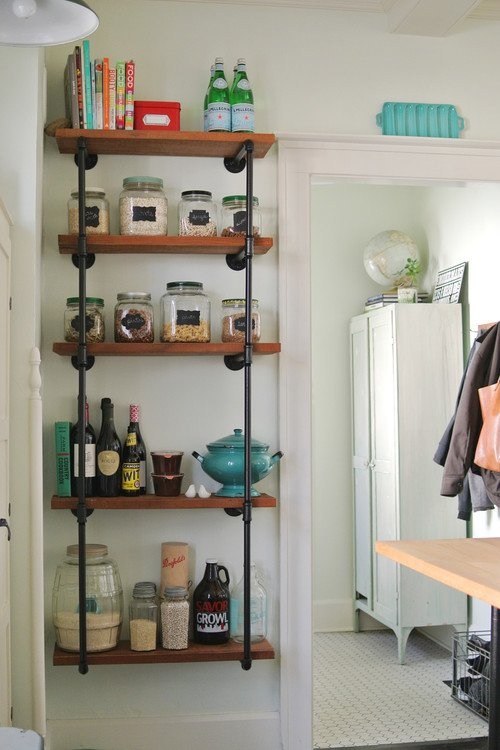 Industrial Open Shelving in Vintage Kitchen
