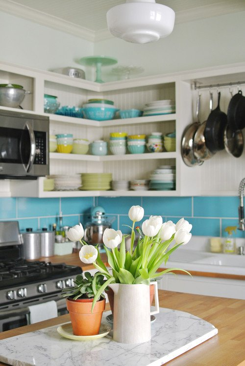 Open Kitchen Cabinets in Colorful Vintage Kitchen
