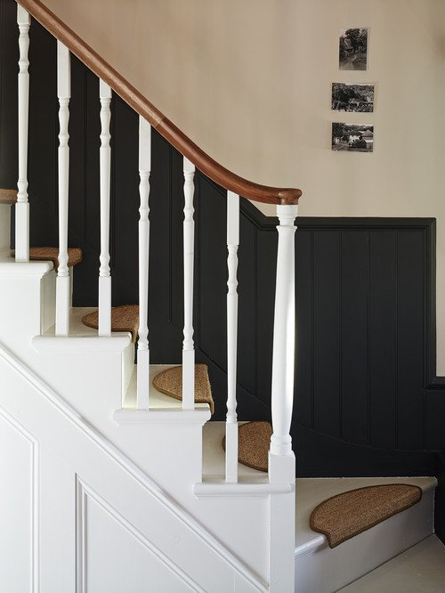 Historic Home Staircase with Braided Rug Treads