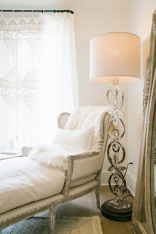 Natural Linen French Chaise and White Wrought Iron Floor Lamp