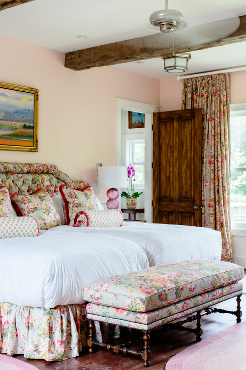Romantic Pink Bedroom with Floral Bedding and Drapes