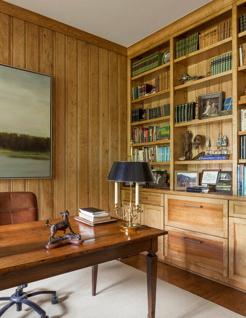 Home Office with Wood Paneling and Built-In Bookcase