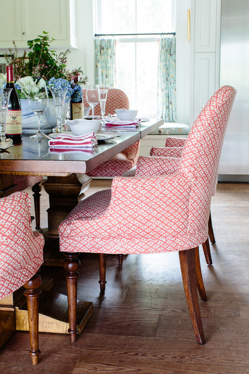 Pink Printed Dining Chairs in English Country Farmhouse