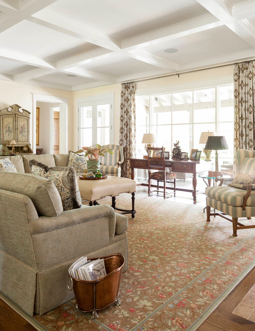 Traditional Style Living Room with Beamed Ceiling