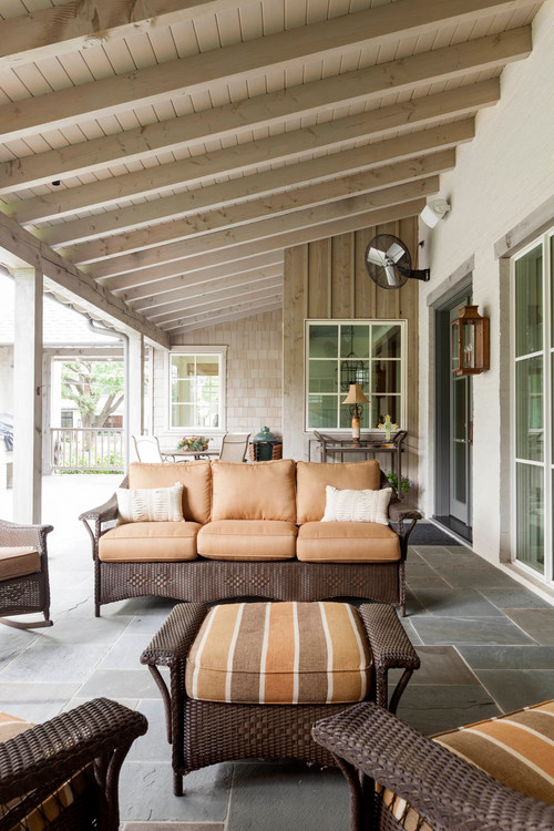 Outdoor Patio with Brown Wicker Furniture
