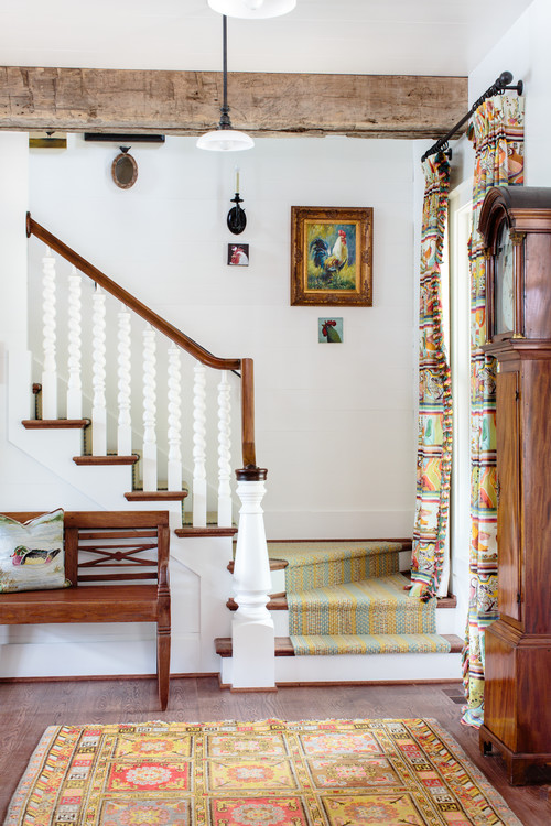 Traditional Staircase with Braided Runner