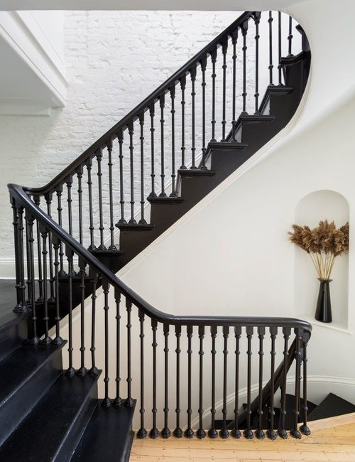 Grand Historic Home Staircase Painted Black