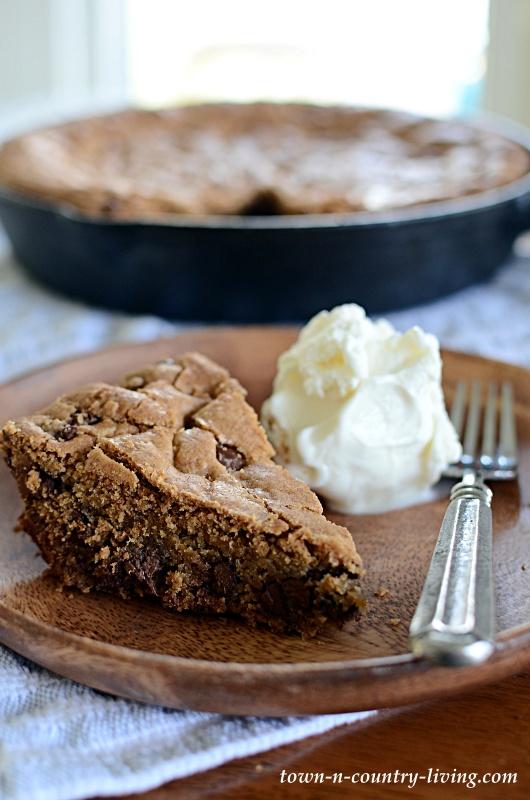 Chocolate Chip Skillet Cookie with Vanilla Ice Cream
