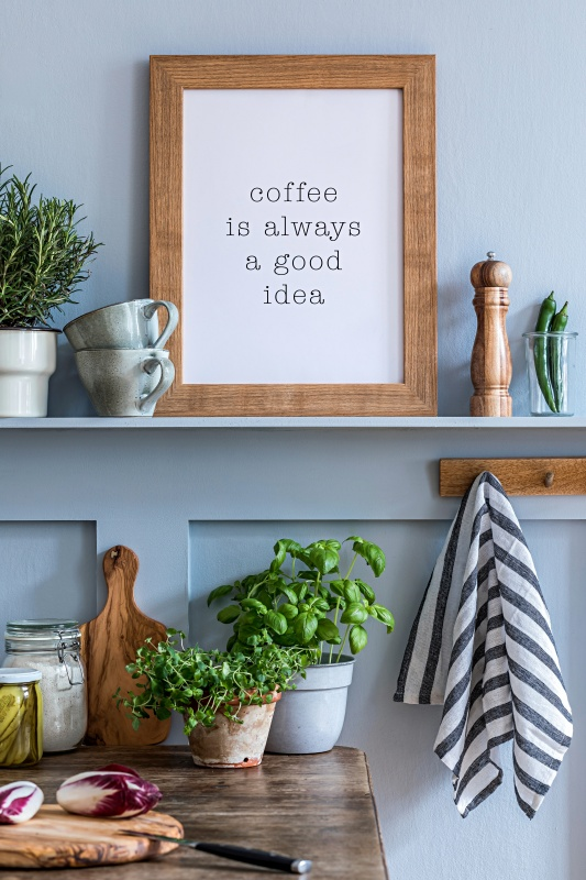 Framed Printable Coffee Sign in Rustic Frame