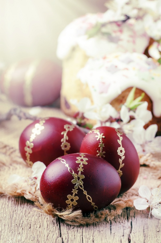 Plum Colored Eggs with Gold Ribbon