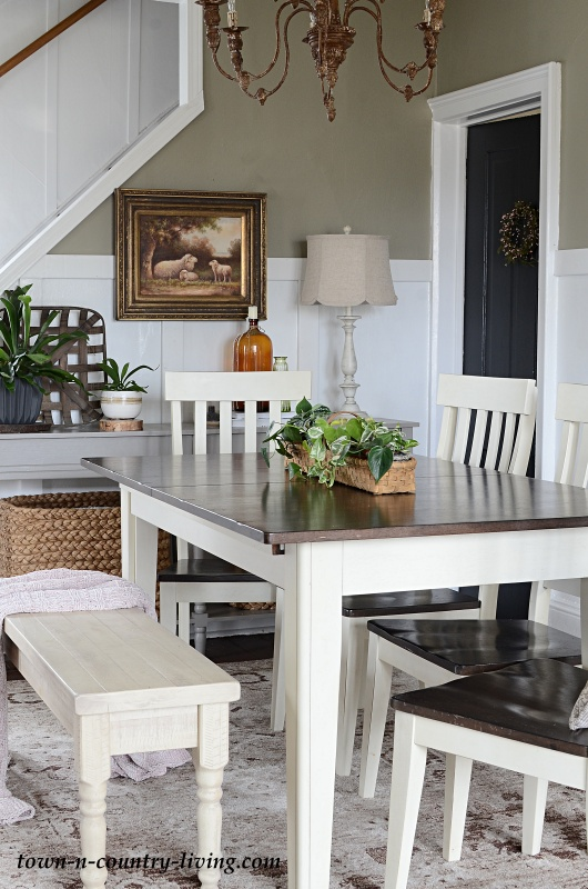 Modern Country Dining Room with Planted Basket