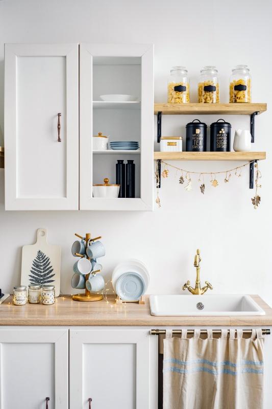 Open Shelves Farmhouse Style Kitchen