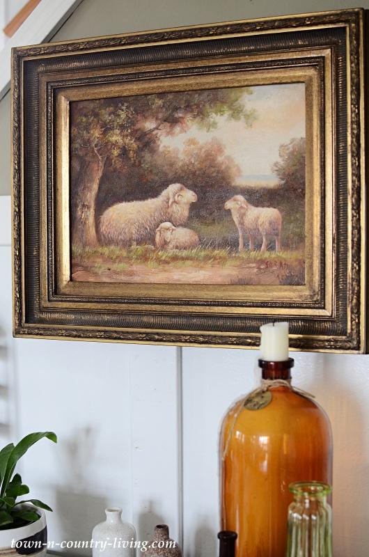 Vintage Oil Lamb Painting