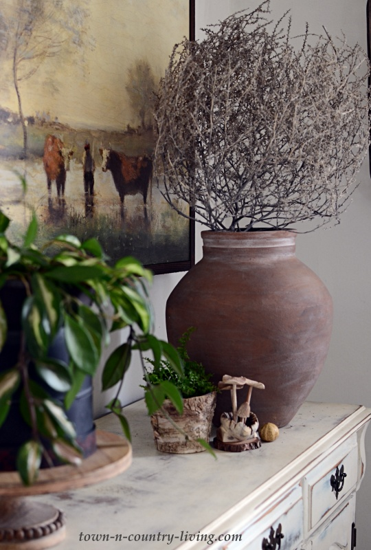 Nature-Inspired Vignette with Plants and Pottery
