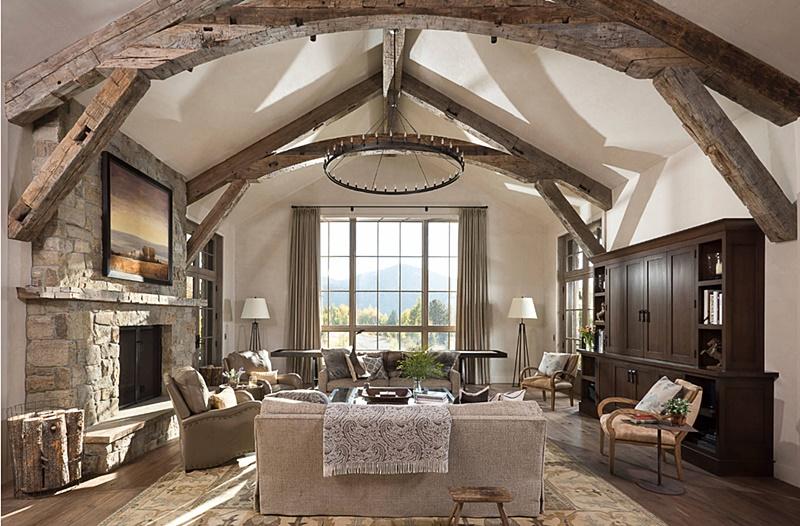 Elegant and Rustic Neutral Living Room