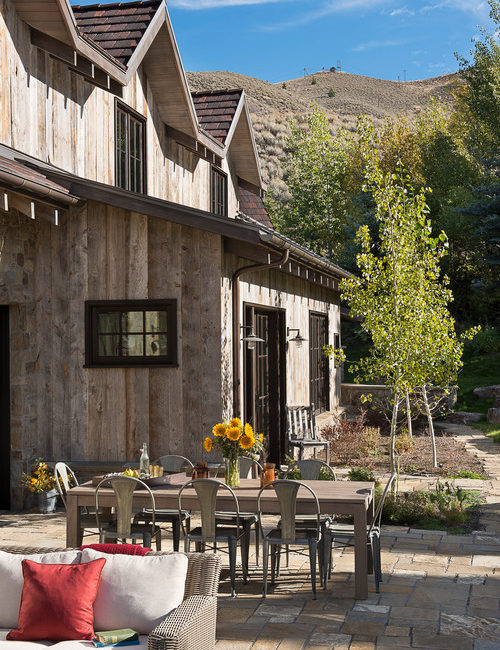 Rustic Outdoor Patio at Idaho Mountain Home
